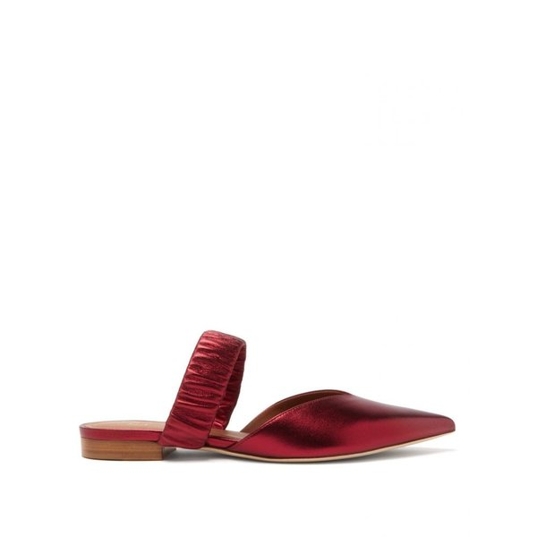 マローンスリアーズ Malone Souliers レディース サンダル?ミュール シューズ?靴 Matilda ruched-strap metallic-leather mules Red|fermart2-store|01