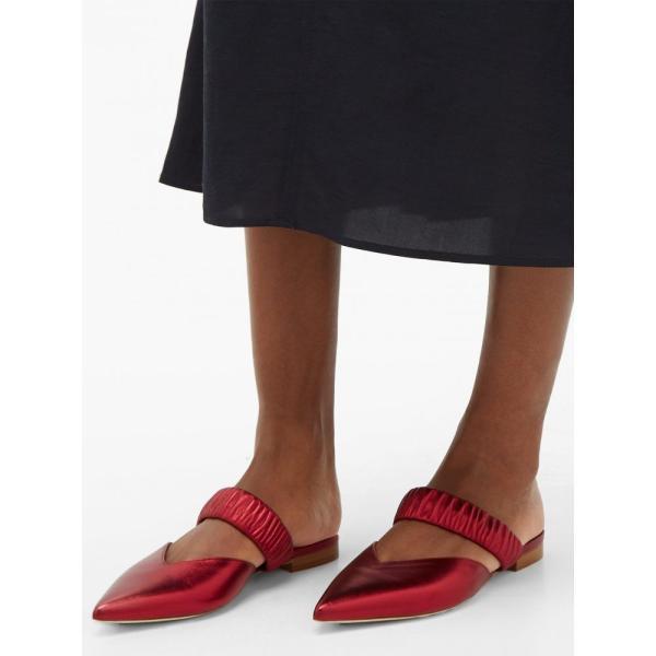 マローンスリアーズ Malone Souliers レディース サンダル?ミュール シューズ?靴 Matilda ruched-strap metallic-leather mules Red|fermart2-store|03