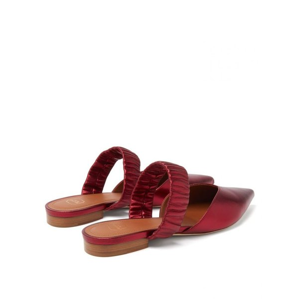 マローンスリアーズ Malone Souliers レディース サンダル?ミュール シューズ?靴 Matilda ruched-strap metallic-leather mules Red|fermart2-store|04