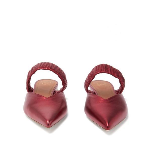 マローンスリアーズ Malone Souliers レディース サンダル?ミュール シューズ?靴 Matilda ruched-strap metallic-leather mules Red|fermart2-store|05