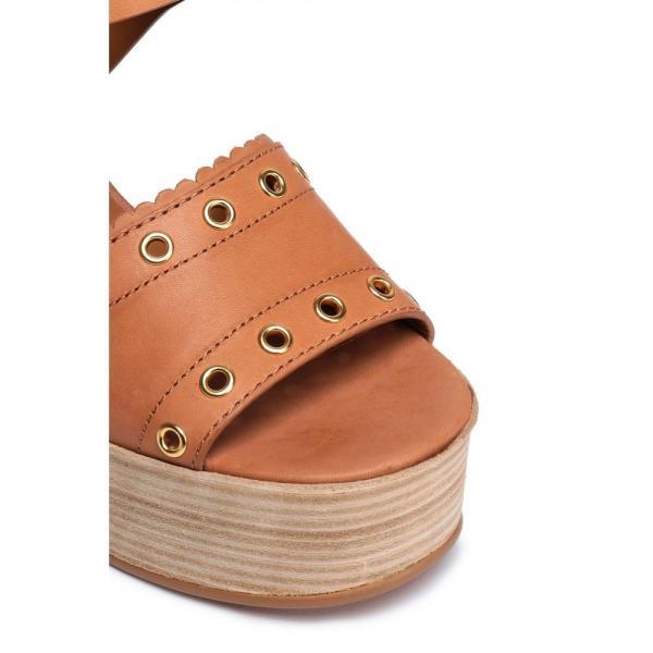 クロエ SEE BY CHLOE レディース サンダル・ミュール シューズ・靴 Eyelet-embellished leather platform sandals Light brown