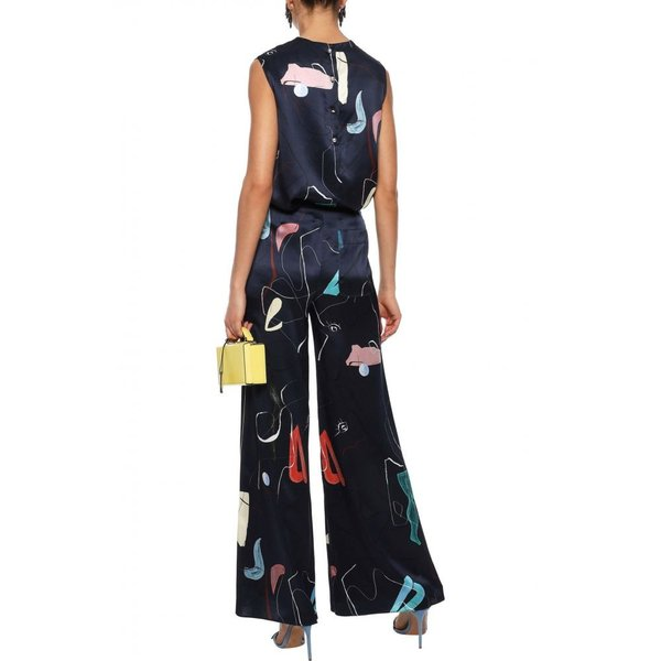 ロクサンダ ROKSANDA レディース ボトムス・パンツ Arneau printed silk-satin wide-leg pants Navy