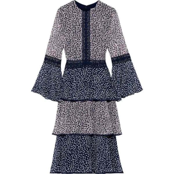 ミカエル アガール MIKAEL AGHAL レディース ワンピース ティアードドレス ワンピース?ドレス tiered lace-trimmed printed chiffon dress Navy|fermart2-store|01