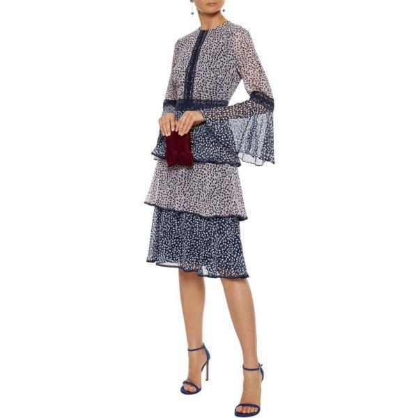 ミカエル アガール MIKAEL AGHAL レディース ワンピース ティアードドレス ワンピース?ドレス tiered lace-trimmed printed chiffon dress Navy|fermart2-store|02
