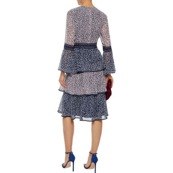 ミカエル アガール MIKAEL AGHAL レディース ワンピース ティアードドレス ワンピース?ドレス tiered lace-trimmed printed chiffon dress Navy|fermart2-store|03