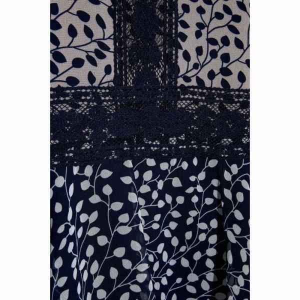 ミカエル アガール MIKAEL AGHAL レディース ワンピース ティアードドレス ワンピース?ドレス tiered lace-trimmed printed chiffon dress Navy|fermart2-store|04