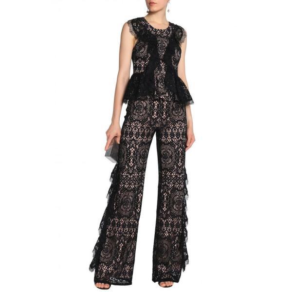 アレクシス ALEXIS レディース トップス Ruffled corded lace peplum top Black