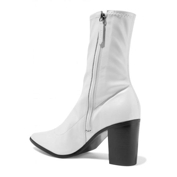 シュッツ SCHUTZ レディース ブーツ シューズ・靴 Amelie stretch-leather sock boots White
