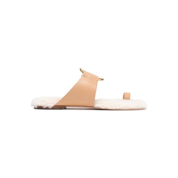 トリー バーチ TORY BURCH レディース サンダル・ミュール シューズ・靴 Shearling-lined leather sandals Peach|fermart2-store