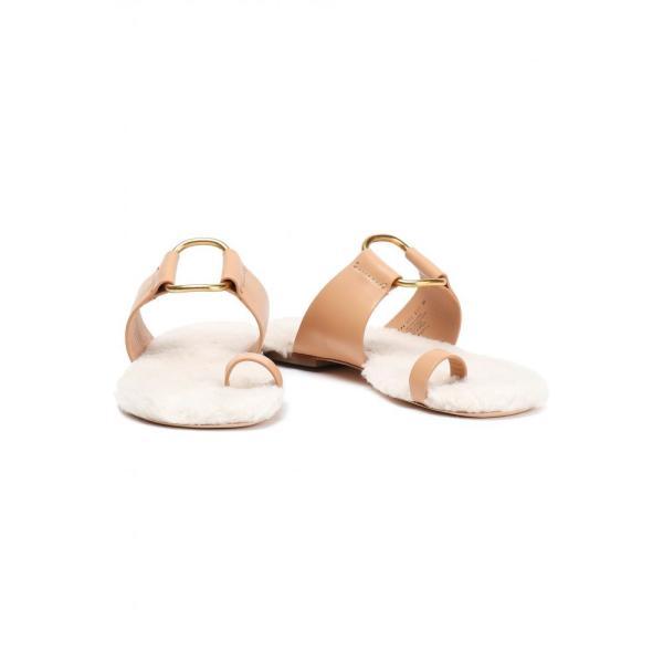 トリー バーチ TORY BURCH レディース サンダル・ミュール シューズ・靴 Shearling-lined leather sandals Peach|fermart2-store|02