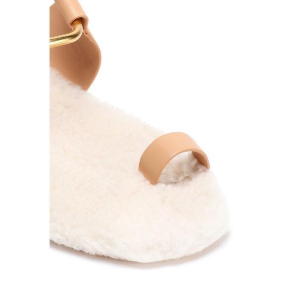 トリー バーチ TORY BURCH レディース サンダル・ミュール シューズ・靴 Shearling-lined leather sandals Peach|fermart2-store|03