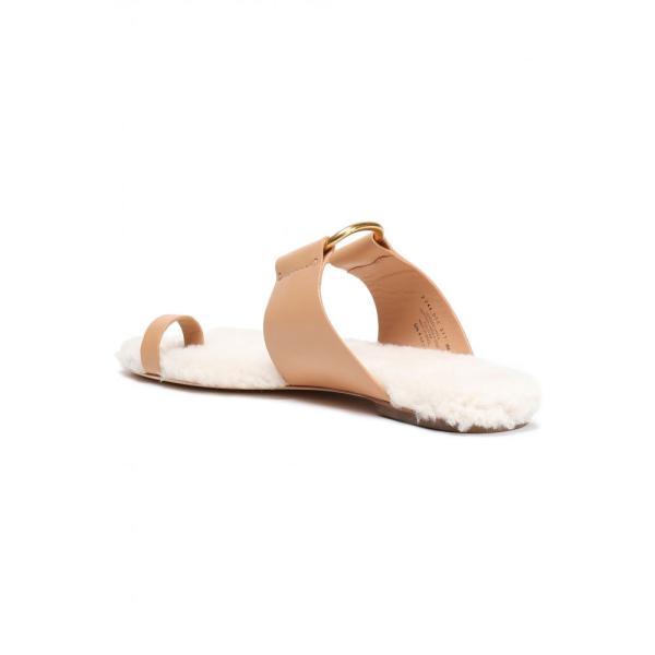トリー バーチ TORY BURCH レディース サンダル・ミュール シューズ・靴 Shearling-lined leather sandals Peach|fermart2-store|04