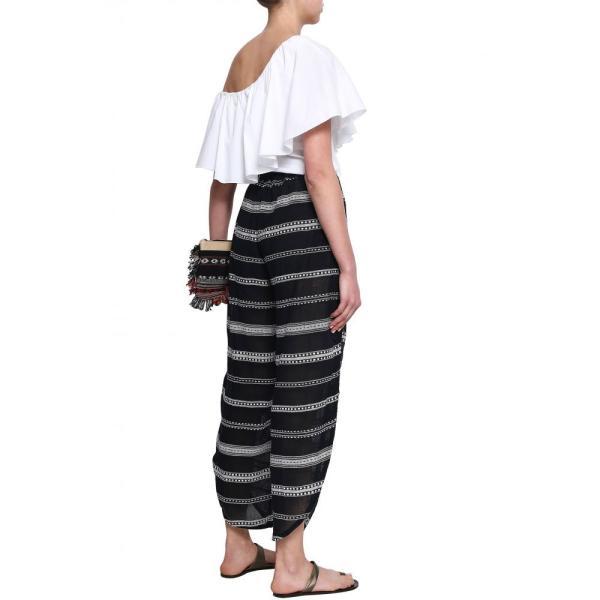 レムレム LEMLEM レディース ボトムス・パンツ Embroidered cotton wide-leg pants Black