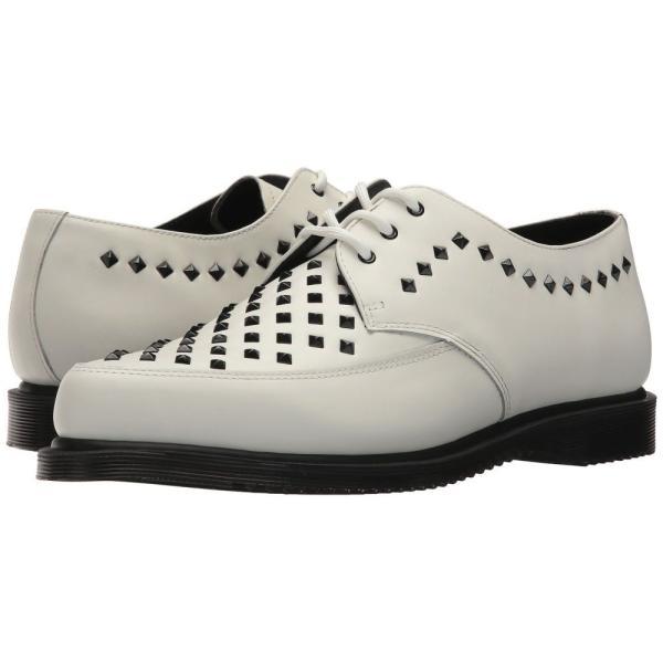 ドクターマーチン Dr. Martens レディース ローファー・オックスフォード シューズ・靴 Willis Stud Creeper White Smooth|fermart2-store