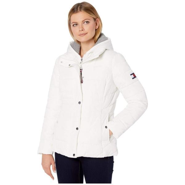 トミー ヒルフィガー Tommy Hilfiger レディース ダウン・中綿ジャケット アウター 25 sweatshirt hoodie puffer White|fermart2-store