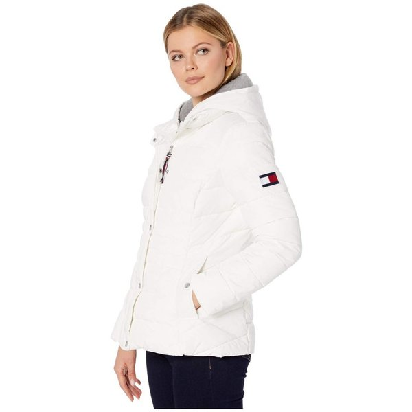 トミー ヒルフィガー Tommy Hilfiger レディース ダウン・中綿ジャケット アウター 25 sweatshirt hoodie puffer White|fermart2-store|02