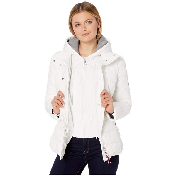 トミー ヒルフィガー Tommy Hilfiger レディース ダウン・中綿ジャケット アウター 25 sweatshirt hoodie puffer White|fermart2-store|05