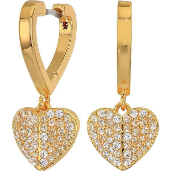 ケイト スペード Kate Spade New York レディース イヤリング・ピアス ハート ジュエリー・アクセサリー Heart To Heart Pave Huggies Earrings Clear/Gold