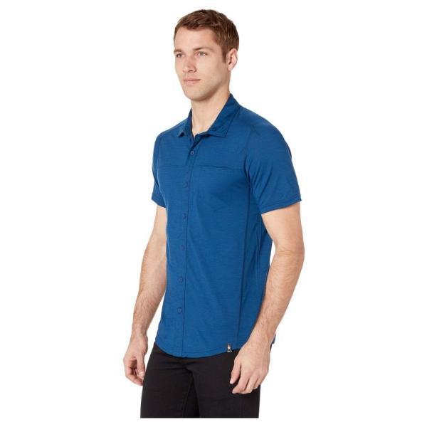 スマートウール Smartwool メンズ トップス Merino Sport 150 Short Sleeve Button Down Alpine Blue|fermart2-store|02