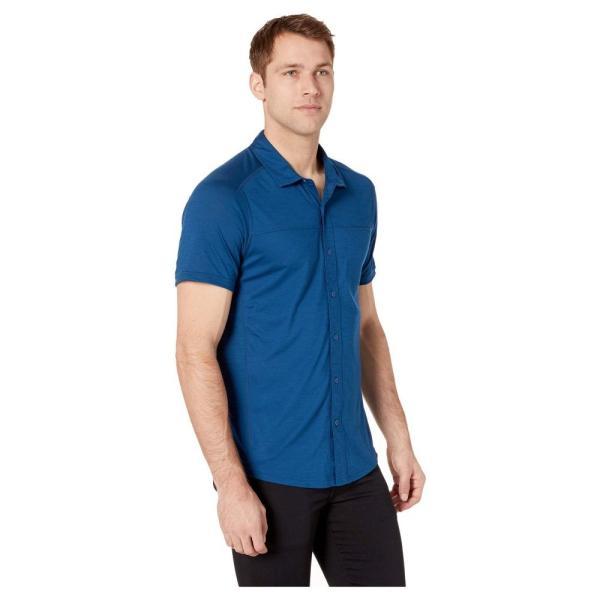 スマートウール Smartwool メンズ トップス Merino Sport 150 Short Sleeve Button Down Alpine Blue|fermart2-store|04