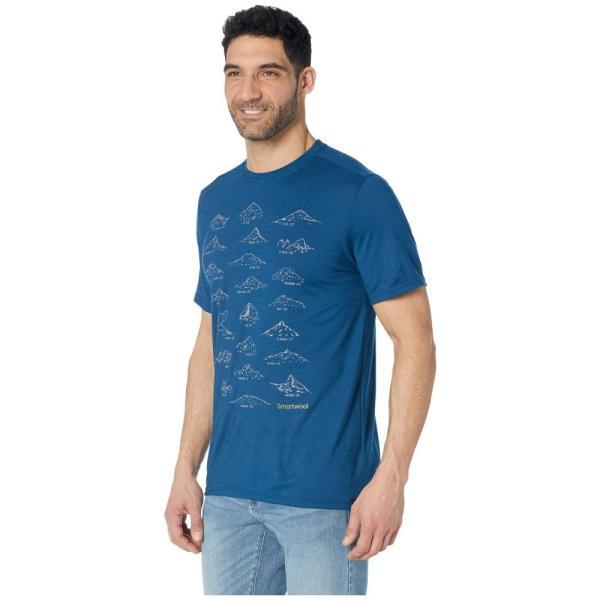 スマートウール Smartwool メンズ Tシャツ トップス Merino Sport 150 Prominent Peaks Tee Alpine Blue|fermart2-store|02