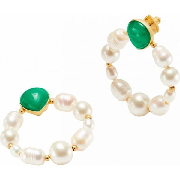 ケイト スペード Kate Spade New York レディース イヤリング・ピアス ジュエリー・アクセサリー Pearl Drops Hoops Earrings Green