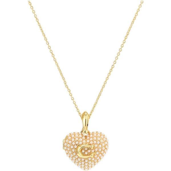 コーチ COACH レディース ネックレス ハート ジュエリー・アクセサリー Pearl Puff Heart Locket Necklace White Pearl