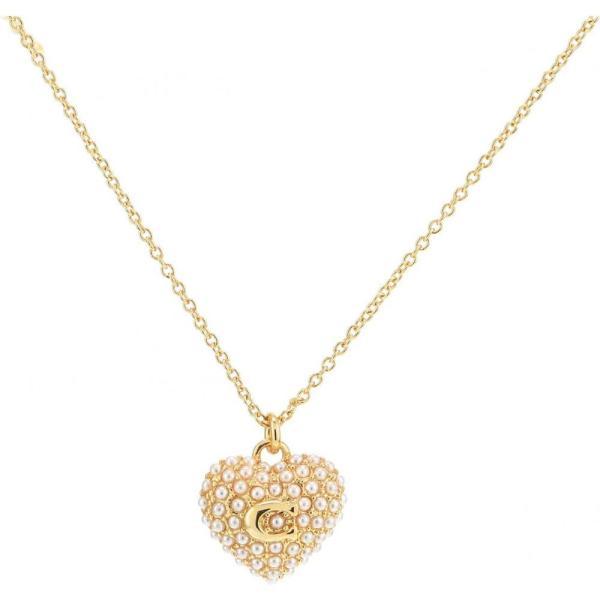 コーチ COACH レディース ネックレス ハート ジュエリー・アクセサリー Pearl Puff Heart Layered Necklace White Pearl