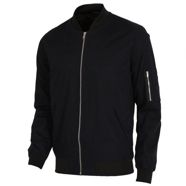 【即納】エイソス ASOS メンズ ジャケット アウター Bomber Jacket With Sleeve Zip Navy|fermart2-store