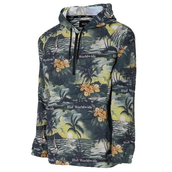 【即納】ハフ HUF メンズ ジャケット アウター アノラック VENICE PACKABLE ANORAK JACKET BLACK|fermart2-store