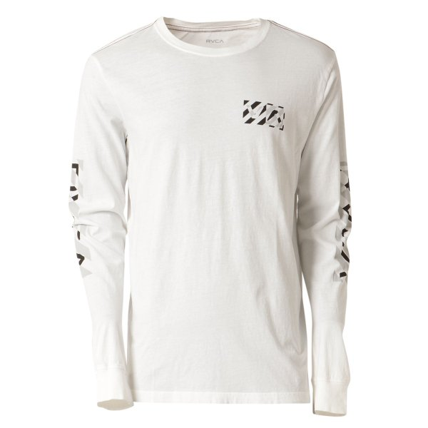 【即納】ルーカ RVCA メンズ 長袖Tシャツ トップス Hazard L/S WHITE ロンT ロングT ロゴ バイアスプリント|fermart2-store