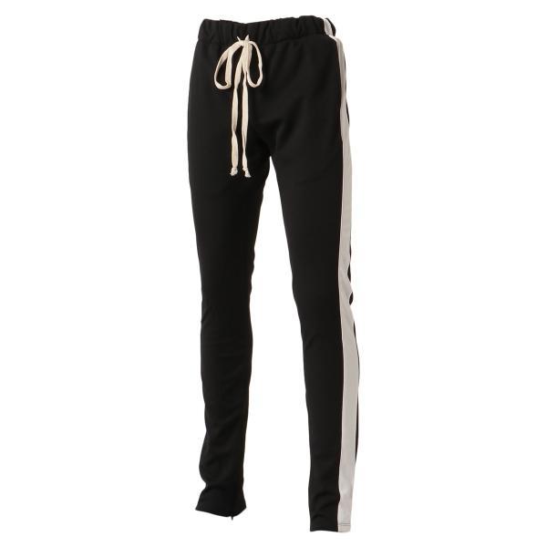 【即納】エピトミ EPTM メンズ スウェット・ジャージ ボトムス・パンツ TRACK PANTS BLACK トラックパンツ 裾ジップ サイドライン fermart2-store