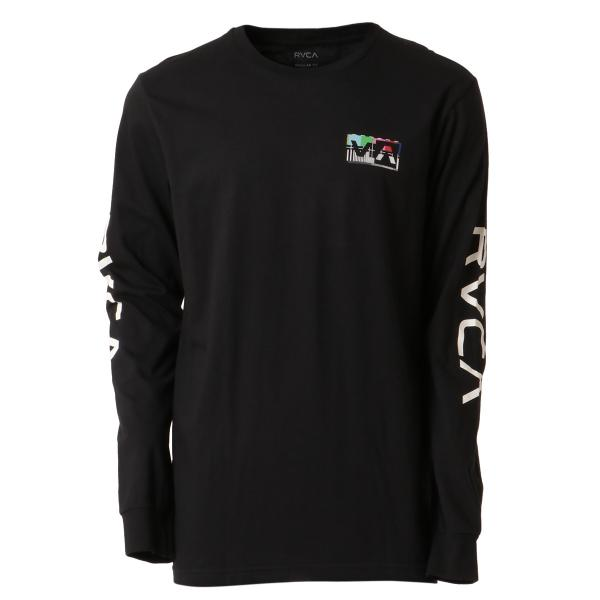 【即納】ルーカ RVCA メンズ 長袖Tシャツ トップス Testing L/S BLACK ロンT ロングT ビッグロゴ バックプリント|fermart2-store