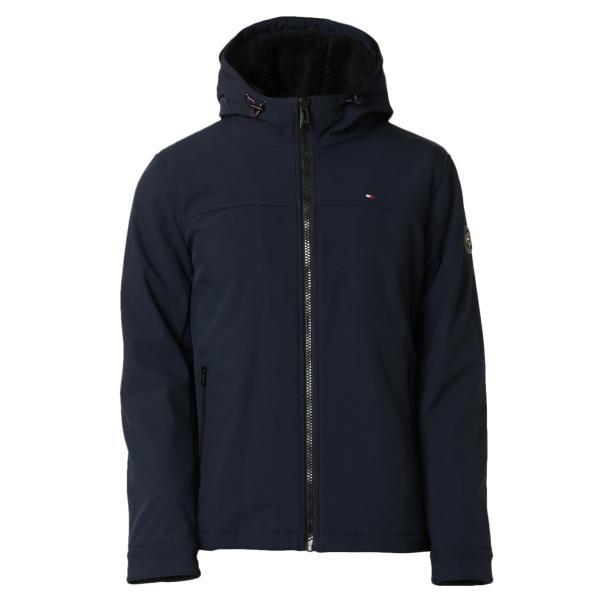 【即納】トミー ヒルフィガー Tommy Hilfiger メンズ ジャケット アウター SOFT SHELL PERFORMANCE HOODY WITH SHERPA LINING MIDNIGHT ナイロン フード fermart2-store