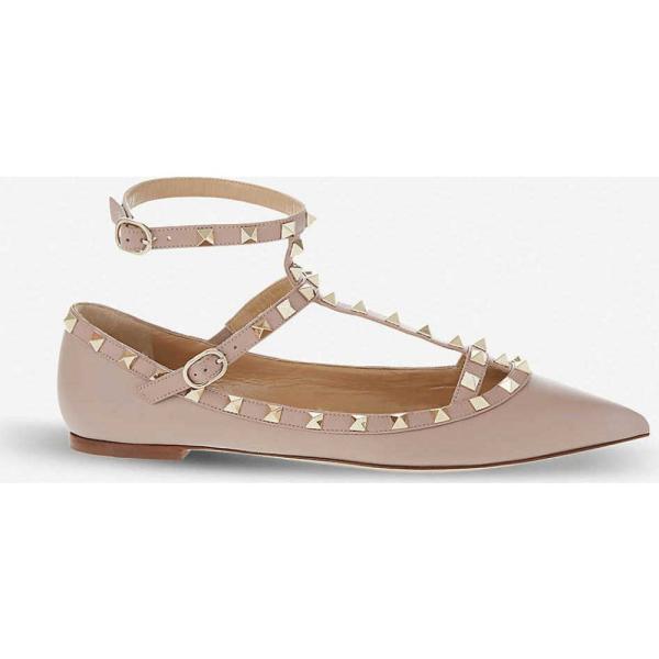 ヴァレンティノ VALENTINO レディース シューズ・靴 フラット Rockstud leather pointed toe flats Nude