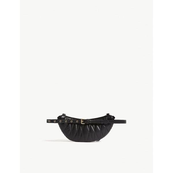 ミュウミュウ レディース ボディバッグ・ウエストポーチ バッグ matelasse bum bag Black