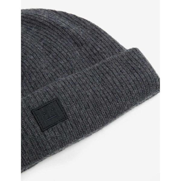 アクネ ストゥディオズ ACNE STUDIOS レディース ニット 帽子 Pansy Face knitted wool beanie Dark grey melange