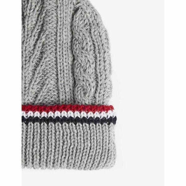 トム ブラウン THOM BROWNE レディース ニット 帽子 Pom pom cable-knit merino wool beanie Light grey