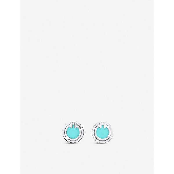 ティファニー TIFFANY & CO ユニセックス イヤリング・ピアス ジュエリー・アクセサリー Tiffany T 18ct white-gold and turquoise earrings GOLD