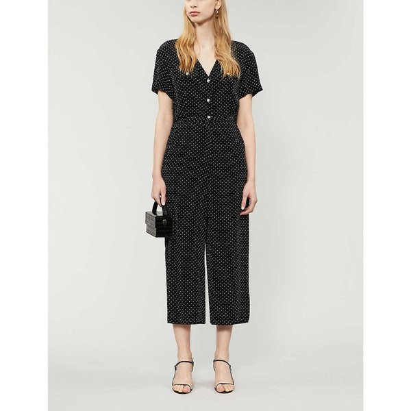 マージュ MAJE レディース オールインワン ジャンプスーツ ワンピース?ドレス Pastel polka-dot satin jumpsuit BLACK WHITE|fermart3-store|02