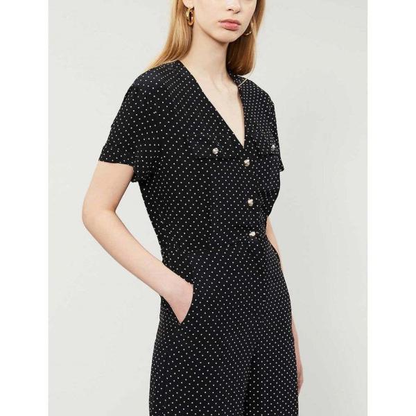 マージュ MAJE レディース オールインワン ジャンプスーツ ワンピース?ドレス Pastel polka-dot satin jumpsuit BLACK WHITE|fermart3-store|04