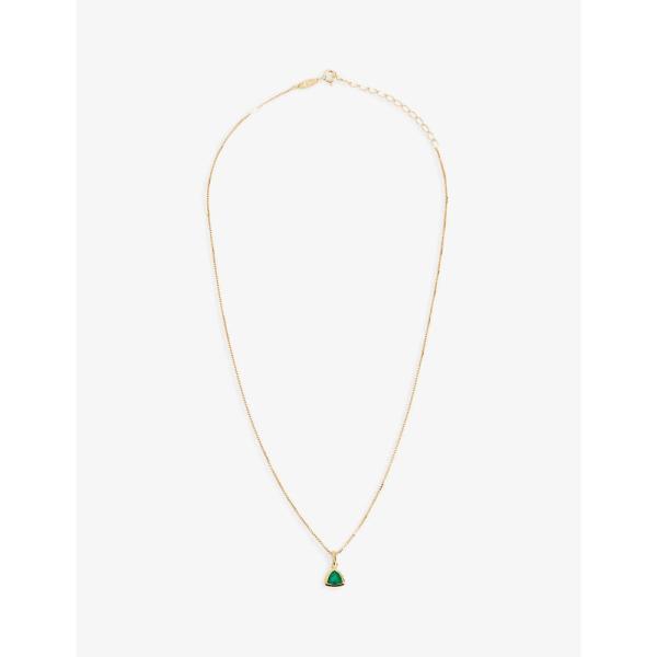 エッジオブエンバー EDGE OF EMBER レディース ネックレス チャーム ジュエリー・アクセサリー Green Onyx Charm 18k gold-plated necklace GOLD