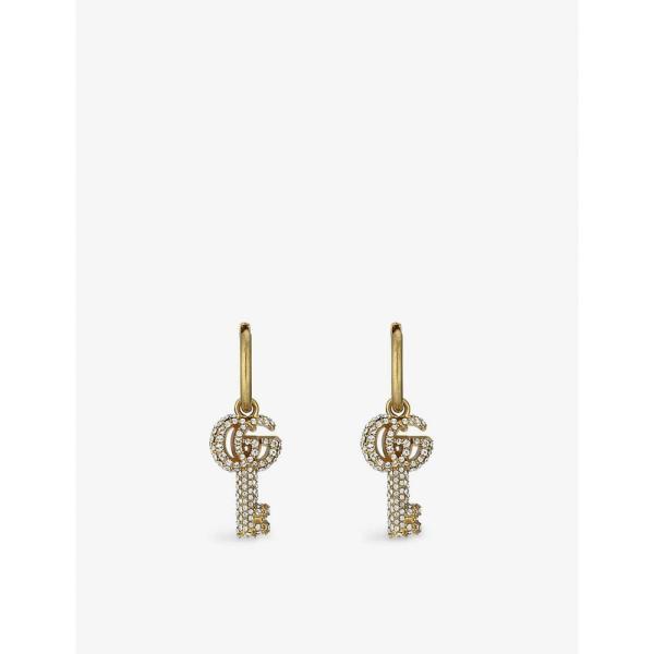 グッチ GUCCI レディース イヤリング・ピアス フープピアス ジュエリー・アクセサリー Double G Key Gold-Tone Brass And Crystal Hoop Earrings ROSE GOLD
