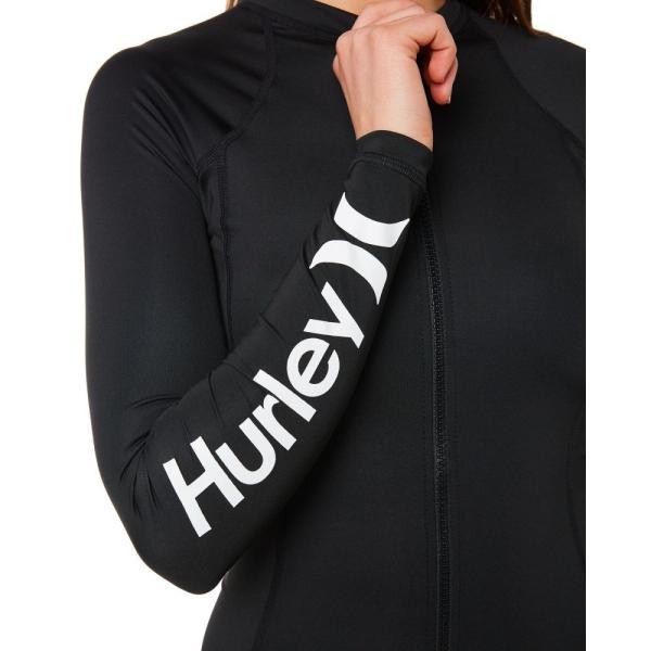 ハーレー Hurley レディース ラッシュガード サーフィン Solid Full Zip Ls Rash Vest Black|fermart3-store|04