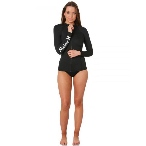ハーレー Hurley レディース ラッシュガード サーフィン Solid Full Zip Ls Rash Vest Black|fermart3-store|05