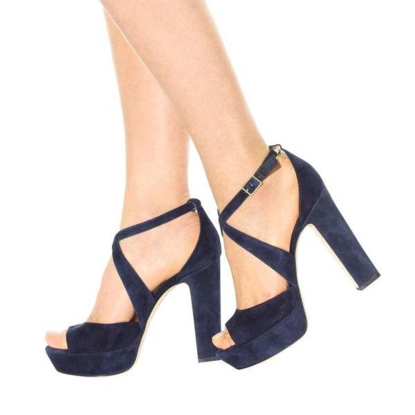 ジミー チュウ Jimmy Choo レディース サンダル・ミュール シューズ・靴 April 120 suede sandals Navy