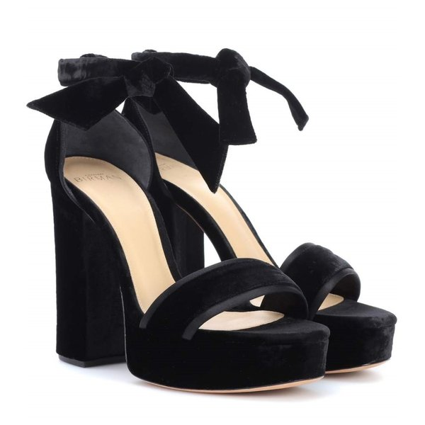 アレクサンドレ バーマン レディース サンダル・ミュール シューズ・靴 Celine velvet plateau sandals Black