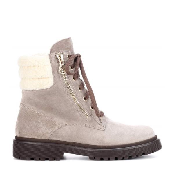 モンクレール レディース ブーツ シューズ・靴 New Viviane suede ankle boots Grey