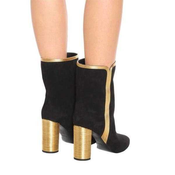 イヴ サンローラン レディース ブーツ シューズ・靴 LouLou 95 suede ankle boots Nero/Oro