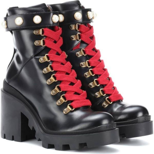 グッチ レディース ブーツ シューズ・靴 Embellished leather ankle boots